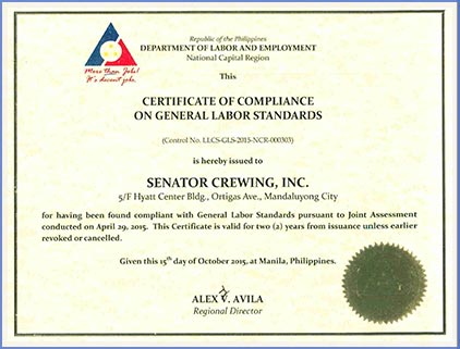 Labor Standards Certificate